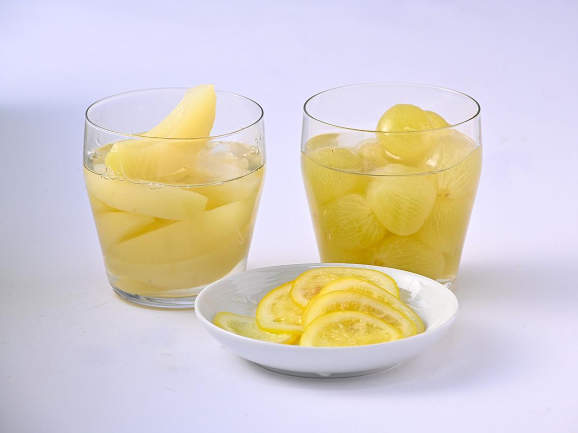 レモンスライス、白桃スライス、ニューピオーネ
